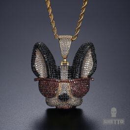 Ghetto Hip Hop Jewelry Animal Dog Pendant Necklace
