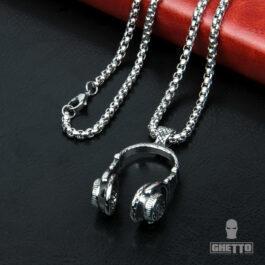 Ghetto Hip Hop Trendy Headphone Pendant Necklace