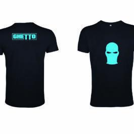 Ghetto Blue Mask Black T-SHIRT Men's