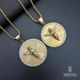 Ghetto Crystal Angel Charm Pendant Necklace