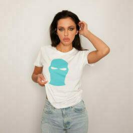 Ghetto Blue Mask White T-SHIRT for Women's
