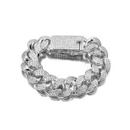 Ghetto Miami Cuban Chain Bracelet CZ Iced Hip Hop 18mm SS