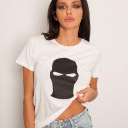 Ghetto Black Mask White T-SHIRT for Women's